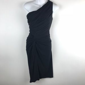 Maggy London Size 2 Black Dress One Shoulder